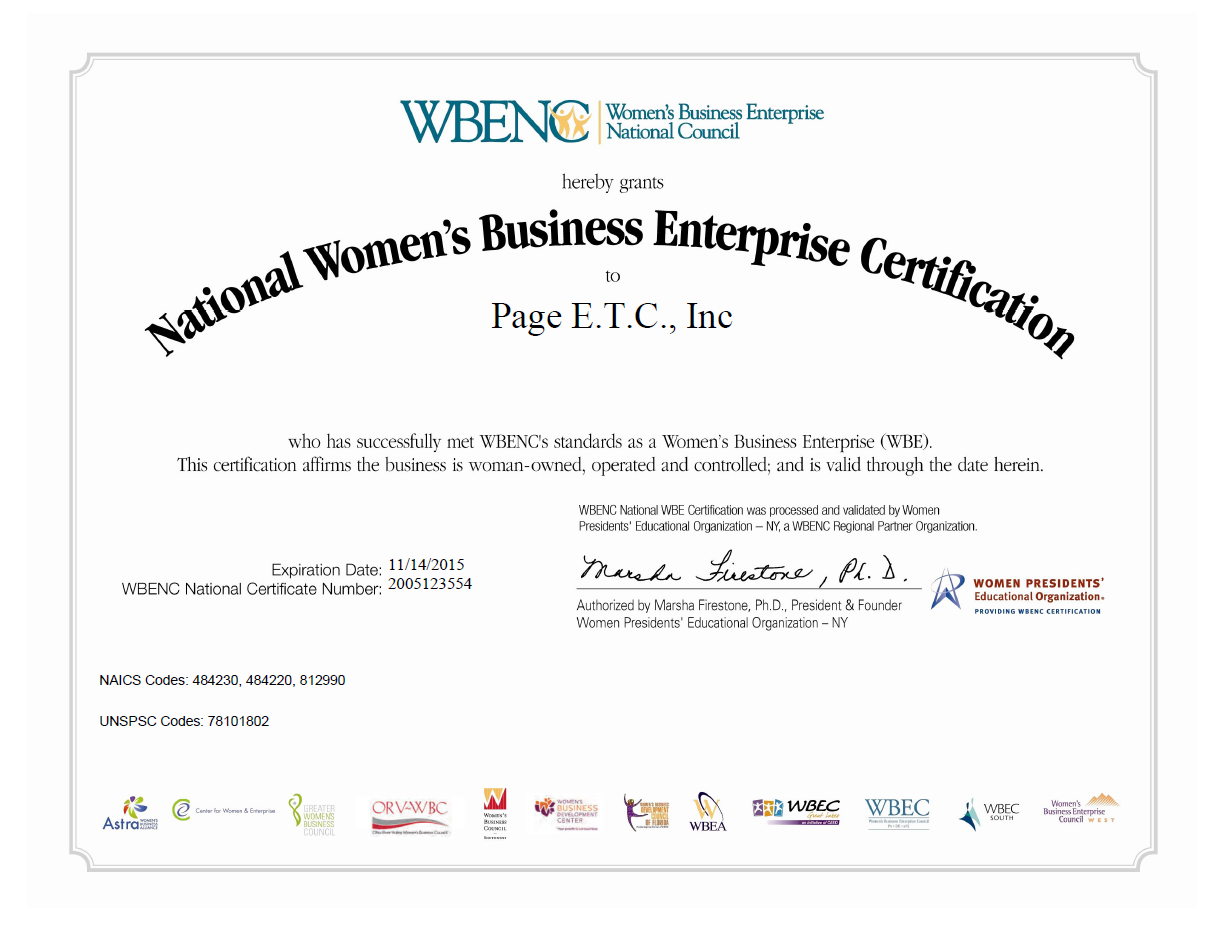 National certifications page trucking inc national womens business enterprise certification to page etc inc 1betcityfo Image collections