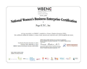 National Women's Business Enterprise Certification to Page E.T.C., Inc