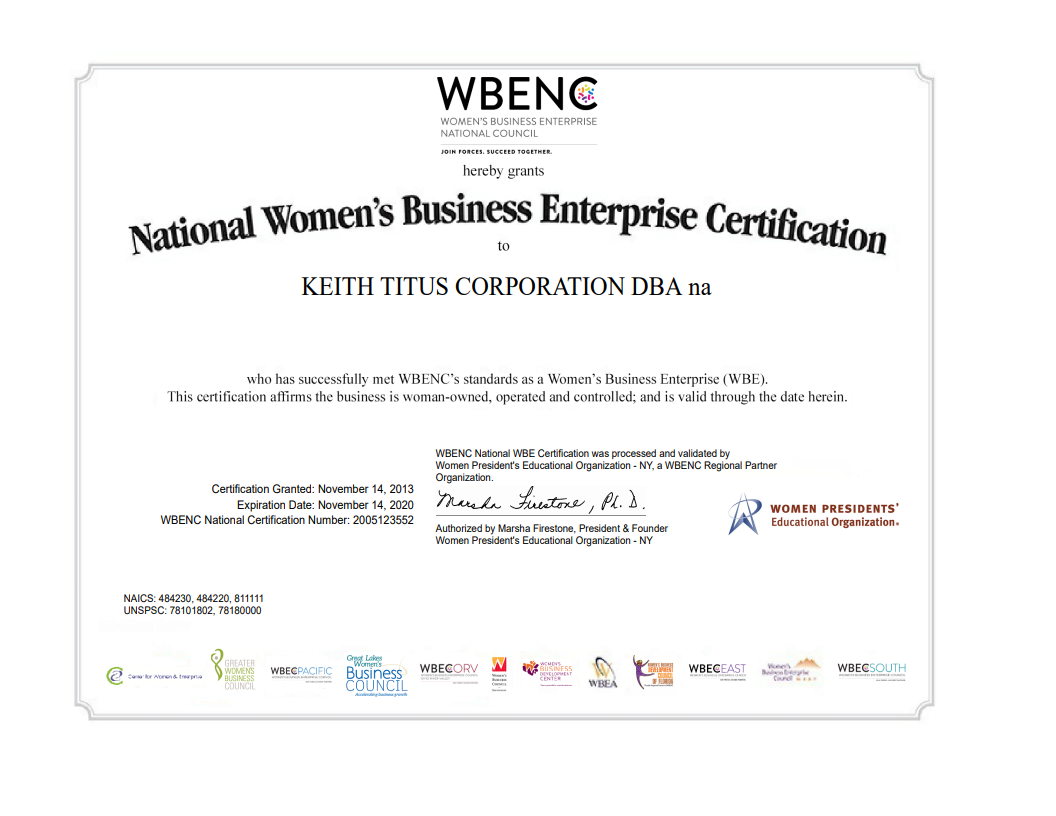 National Women's Business Enterprise Certification to Keith Titus Corporation